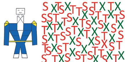Due test di percezione usati da Isabelle Soulières. Nel primo, l'obbiettivo è trovare nel disegno delle forme che sembrano una casa. Nel secondo, l'allievo deve trovare il piu' rapidamente possibile la X rossa.