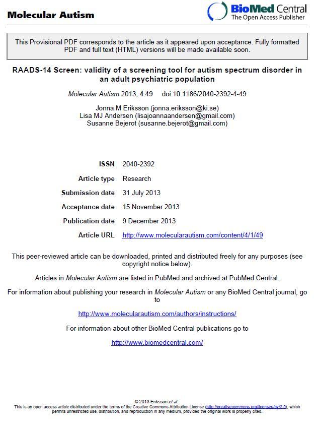 TEST PER LA DIAGNOSI DELLA SINDROME DI ASPERGER NEGLI ADULTI - ( RAADS-14 Screen )
